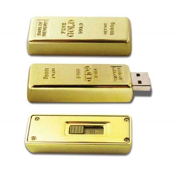 gouden usb stick bedrukt met eigen logo en tekst