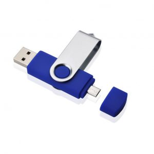 On the go usb stick blauw te bedrukken met eigen logo of tekst